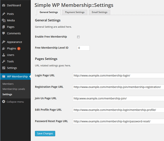 Simple membership plugin membership plugin for Html table options