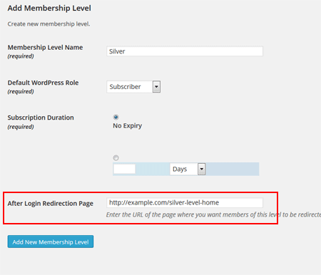 member-after-login-redirection-configuration