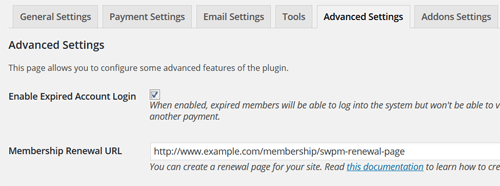 membership-renewal-page-settings-screenshot