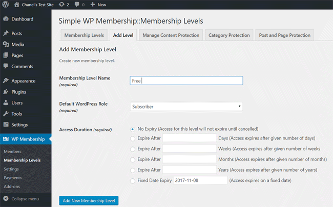 swpm-creating-free-membership-level