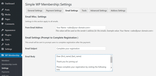 swpm-email-settings-complete-registration
