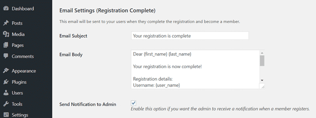 swpm-email-settings-registration-complete