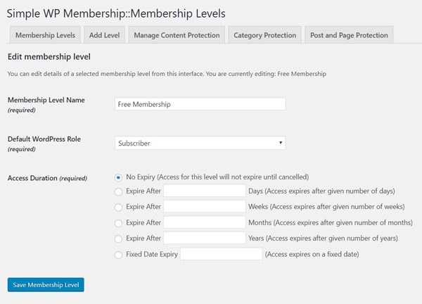 creating-free-membership-level