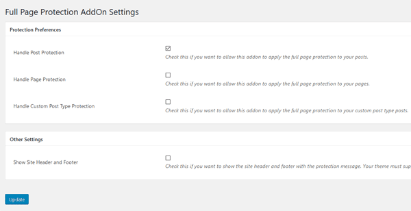 full-page-protection-addon-settings-screenshot-1