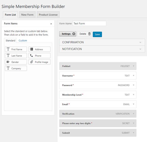 Simple Membership - Form Builder Addon