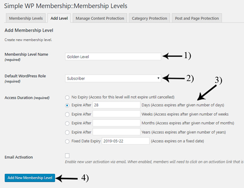 creating-SWPM-membership-levels